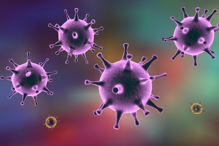 infectious disease: Human Herpes simplex virus on colorful background. 3D illustration Stock Photo