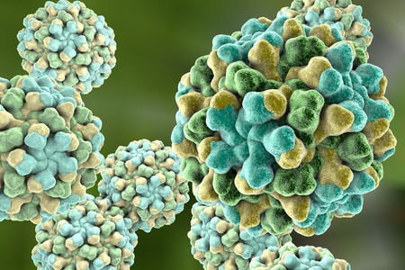 virology: Tomato bushy stunt virus on colorful background, 3D illustration
