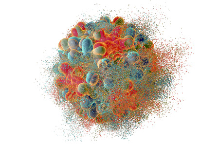 Destruction of hepatitis B virus, 3D illustration. Conceptual image for anti-hepatitis treatment