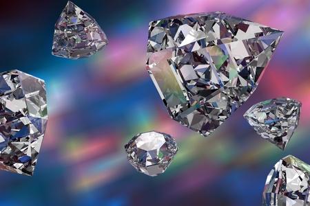 Shiny diamonds on colorful background, 3D illustration