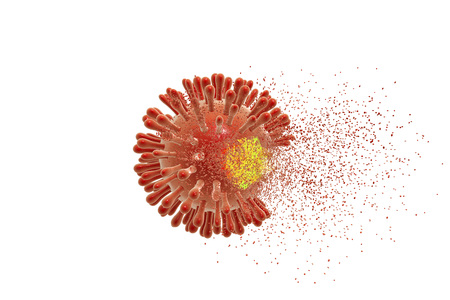 Destruction of Human Immunodeficiency Virus HIV , AIDs virus isolated on white background, 3D illustration. Concept for HIV treatment and prevention