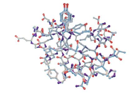 Moleculair model van insulinemolecule op witte achtergrond, 3D illustratie wordt geïsoleerd die