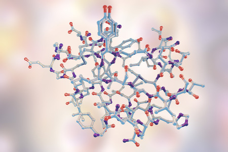 Molecular model of insulin molecule, 3D illustration Stock Photo