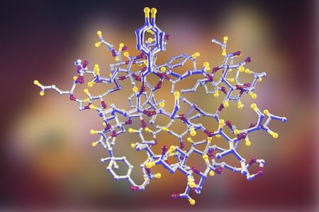 metabolic disease: Molecular model of insulin molecule, 3D illustration Stock Photo