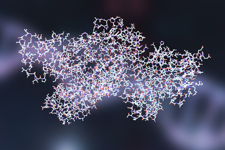 Lethal toxin of anthrax bacterium Bacillus anthracis, 3D illustration. Molecular background Stock Photo