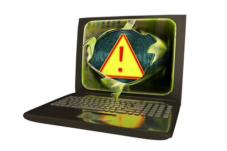 spyware: Computer virus, conceptual image. 3D illustration showing bursting of laptop screen and virus alert sign