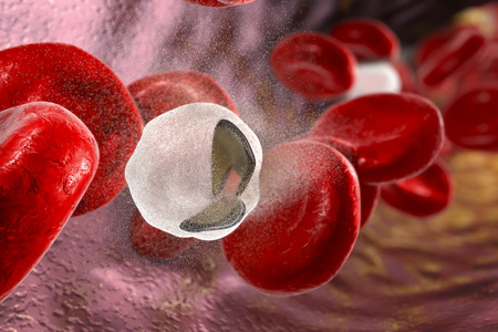 Destruction of red blood cells, 3D illustration. Concept of anemia and other hematological diseases Stock Photo