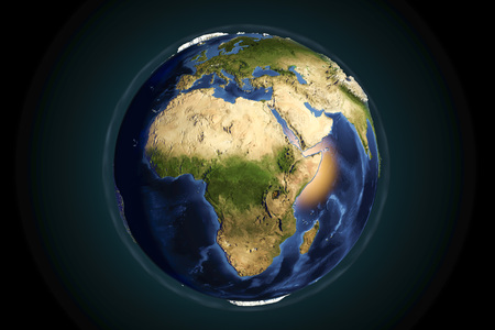 Planet Earth from space showing Africa with enhanced bump,3D illustration,