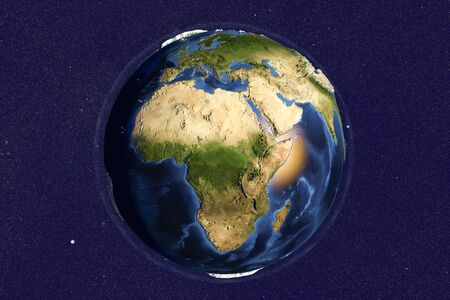 lybia: Planet Earth from space showing Africa with enhanced bump,3D illustration,