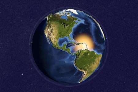 map bolivia: El planeta tierra desde el espacio mostrando las Américas con topetón mejorado, ilustración 3D,