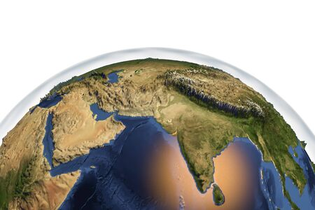 Planet Earth from space showing India and Arabian peninsula with enhanced bump isolated on white background, 3D illustration, Elements of this image furnished by NASA