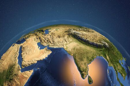 Planet Earth from space showing India and Arabian peninsula with enhanced bump, 3D illustration,