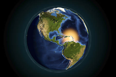 Planet Earth from space showing Americas with enhanced bump, 3D illustration