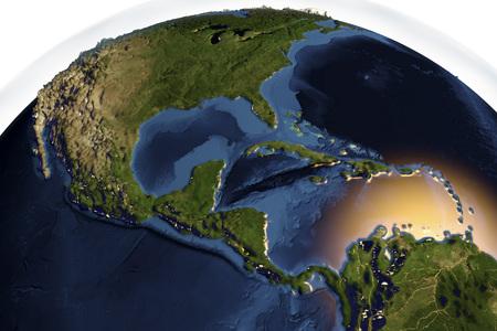 map bolivia: El planeta Tierra desde el espacio que muestra América Central con la protuberancia mejorada aislado en el fondo blanco, ilustración 3D,