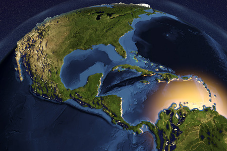 Planet Earth from space showing Central America with enhanced bump, 3D illustration,
