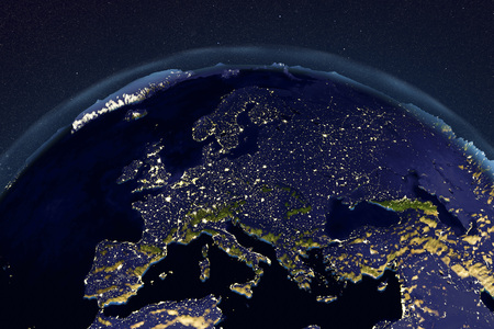 Planet Earth from space showing Europe in night with enhanced bump, 3D illustration, Stock Photo