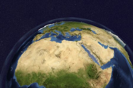 peninsula: Planet Earth from space showing Nothern Africa and Arabian Peninsula, 3D illustration, Stock Photo