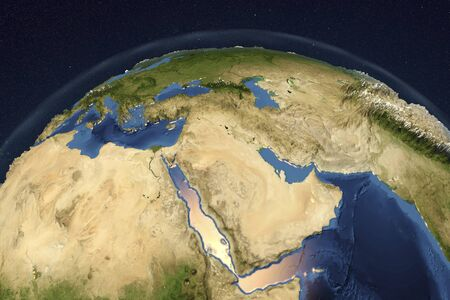 peninsula: Planet Earth from space showing Arabian Peninsula, 3D illustration,