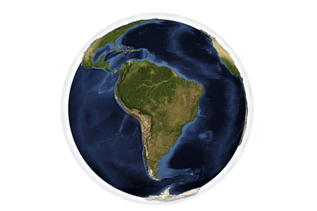Planet Earth from space showing South America with enhanced bump, 3D illustration,