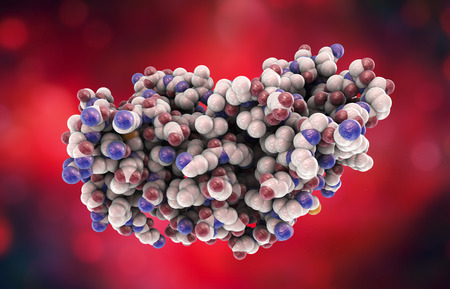 responce: Molecular model of interferon-gamma 3D illustration. IFN-gammaa is a protein produced by leukocytes and involved in innate immune responce against viral infections Stock Photo
