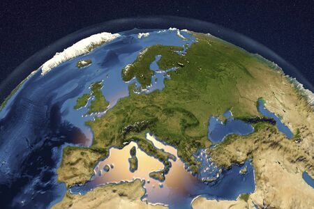Planet Earth from space showing Western Europe with enhanced bump, 3D illustration,