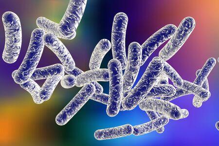 3D illustration of bacterium Legionella pneumophila on colorful background, bacterium causes Legionnaires disease