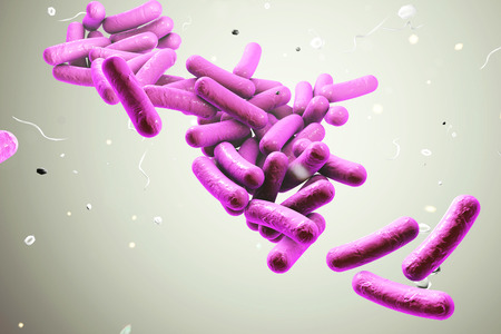 Bacterial infection. Rod-shaped bacteria on colorful background, 3D illustration Фото со стока