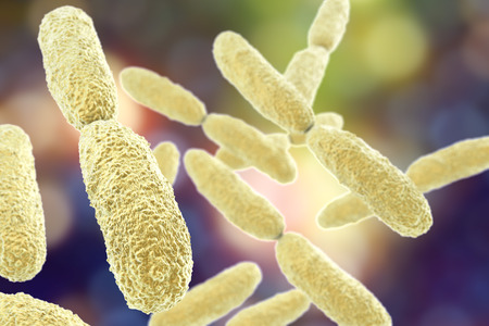 Bacteria Klebsiella, 3D illustration. Gram-negative rod-shaped bacteria which are often nosocomial antibiotic resistant