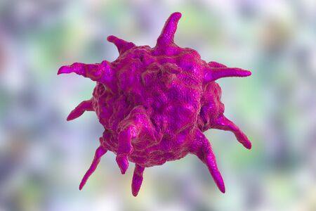 Human or animal pathogenic virus on colorful background, 3D illustration
