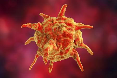 hepatitis: Human or animal pathogenic virus on colorful background, 3D illustration