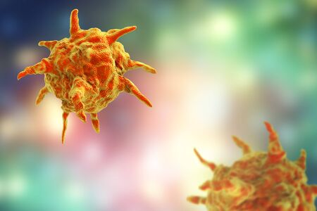 Human or animal pathogenic viruses on colorful background with empty space for title and text, 3D illustration