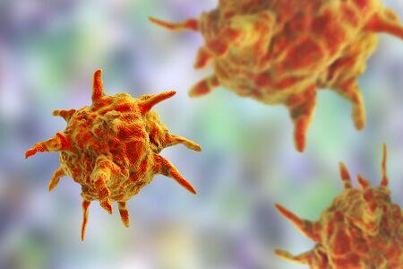 hepatitis: Human or animal pathogenic viruses on colorful background, 3D illustration Stock Photo