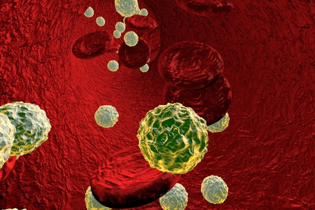 Viruses in blood. Generalized viral infection, 3D illustration Stock Photo