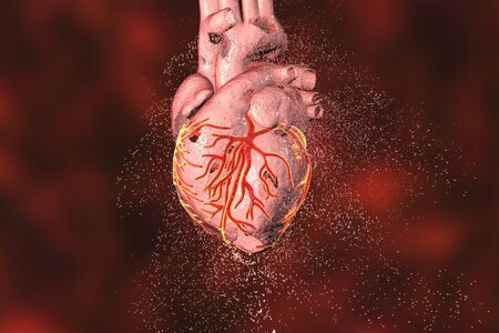 Destruction of heart. Heart disease concept, 3D illustration Stock Photo