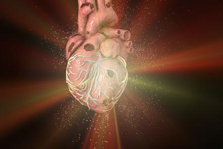 Destruction of heart. Heart disease concept, 3D illustration Stock Photo