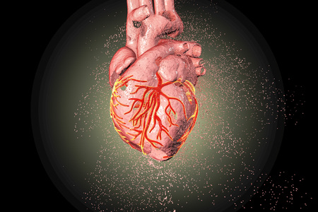 Destruction of heart. Heart disease concept, 3D illustration Stok Fotoğraf