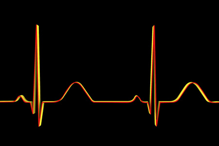 heart beats: Electrocardiogram isolated on black background. 3D illustration
