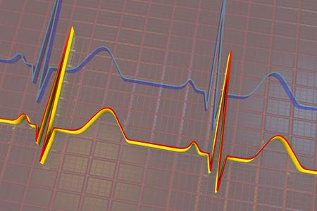 electrocardiograma: Electrocardiogram, ECG medical background, scienctific background 3D illustration