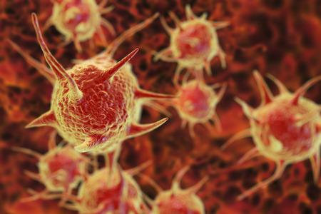 ameba: Parásitos, microbios patógenos sobre fondo orgánico. Ilustración 3D Foto de archivo