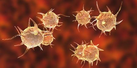 Parasites, pathogenic microbes on organic background. 3D illustration