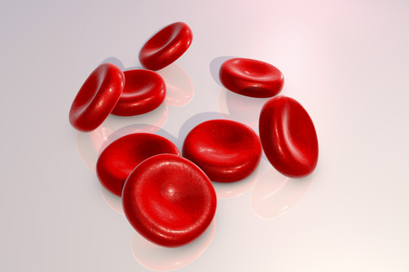 Red blood cells on a plane with reflections, 3D illustration Stock Photo