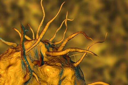 immunodeficiency: Macrophage cell, monocyte, close-up view of immune cell, 3D illustration