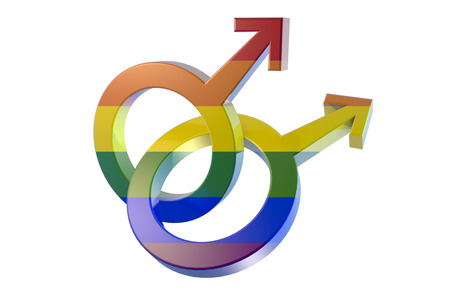 Gay symbol in rainbow colors, two male symbols crossed representing homosexual relationship isolated on white background, 3D illustration
