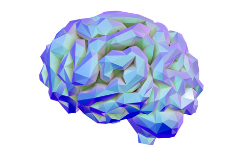 Human brain low-polygonal isolated on white background, 3D illustration