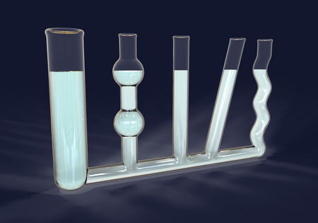 色の水と容器の通信、物理実験、3 D イラストレーション