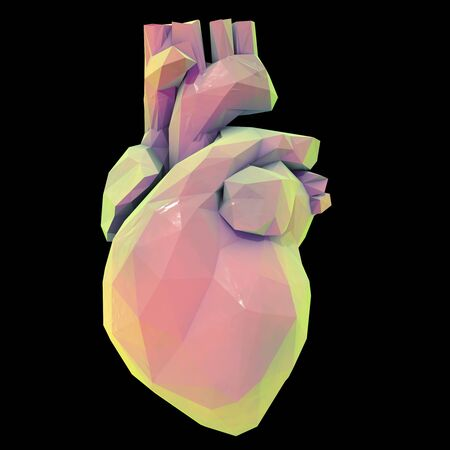 Low polygonal human heart isolated on black background, 3D illustration