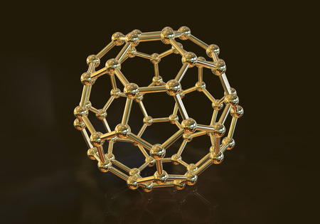 3D illustration of nanoparticle on black background, close-up vew