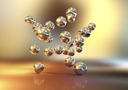 Złote nanocząsteczki, 3D ilustracja. Tło biotechnologiczne i naukowe Zdjęcie Seryjne