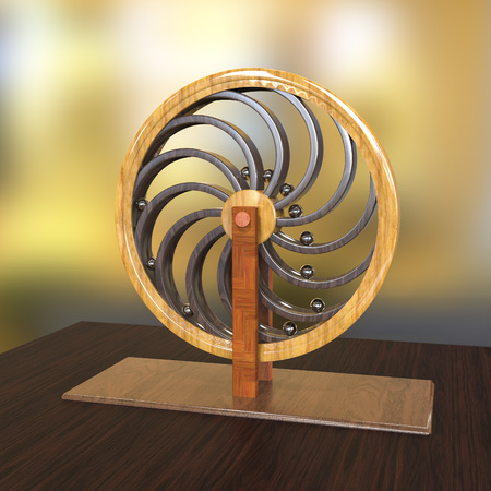 Perpetual motion machine, Perpetuum mobile, 3D illustration. 3D model is accurately made according to drawings of Leonardo da Vinci