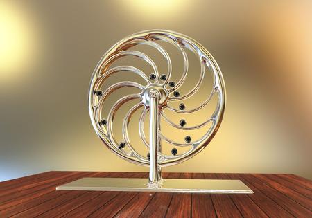 Perpetual motion machine, Perpetuum mobile, 3D illustratie. 3D-model